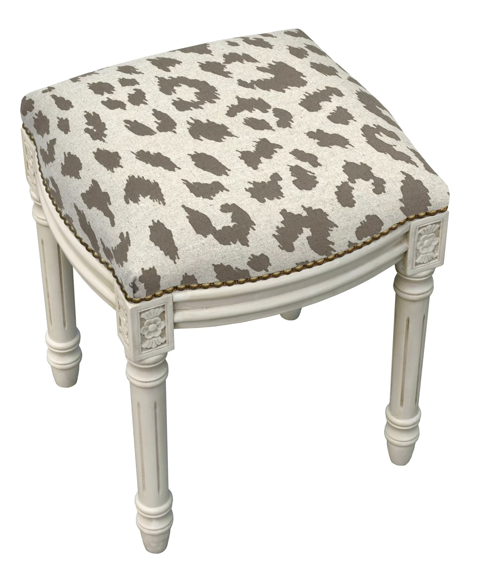 Upholstered Vanity Chair 123 Creations Animal Print Cheetah Linen Upholstered
