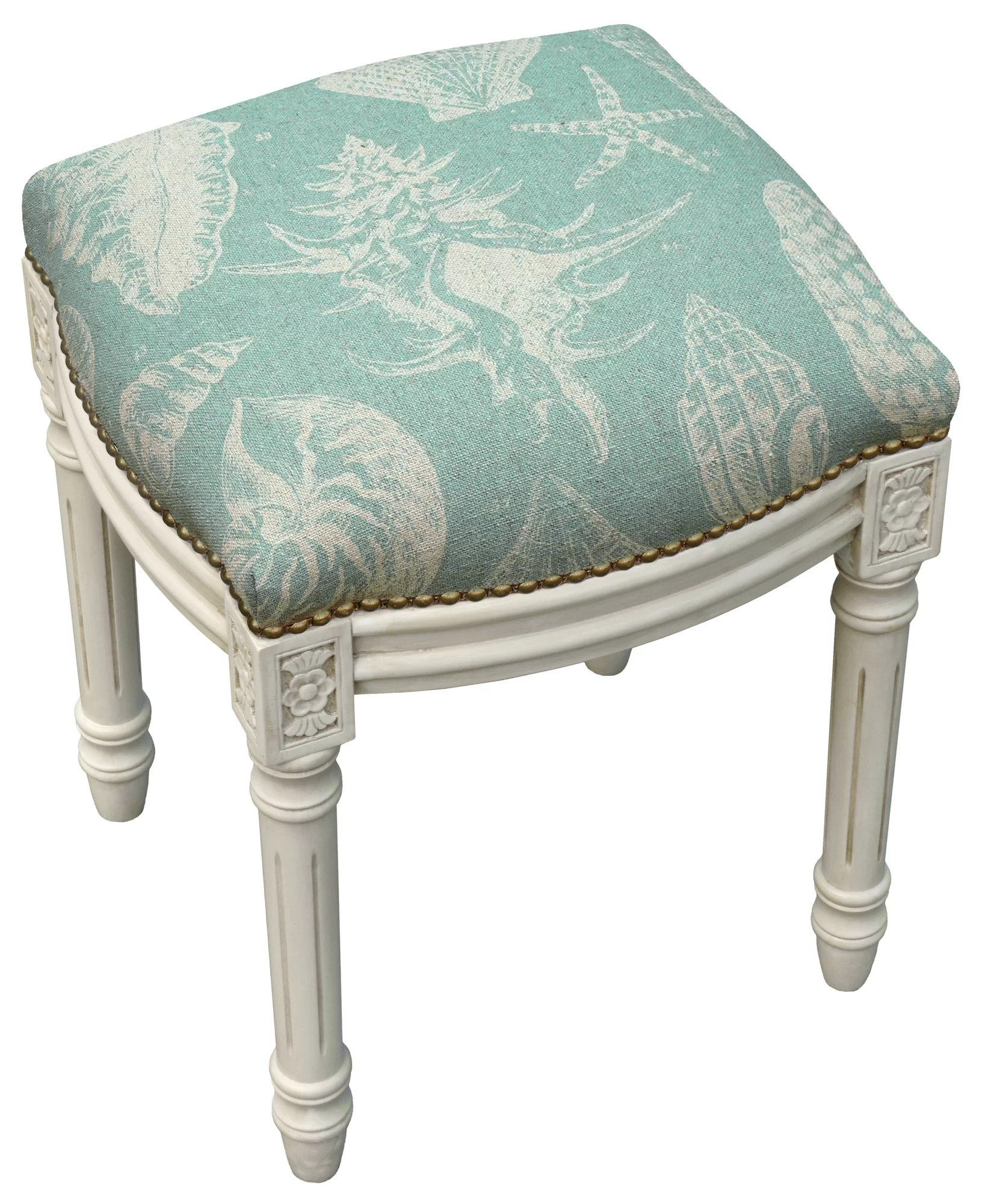 Upholstered Vanity Chair 123 Creations Coastal Seashells Linen Upholstered Vanity
