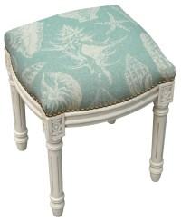 123 Creations Coastal Seashells Linen Upholstered Vanity ...