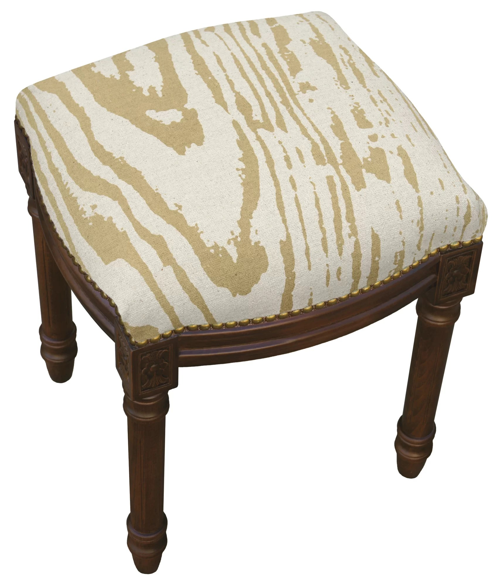 Upholstered Vanity Chair 123 Creations Graphic Faux Bois Linen Upholstered Vanity