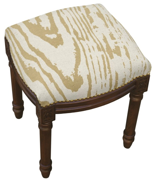 123 Creations Graphic Faux Bois Linen Upholstered Vanity