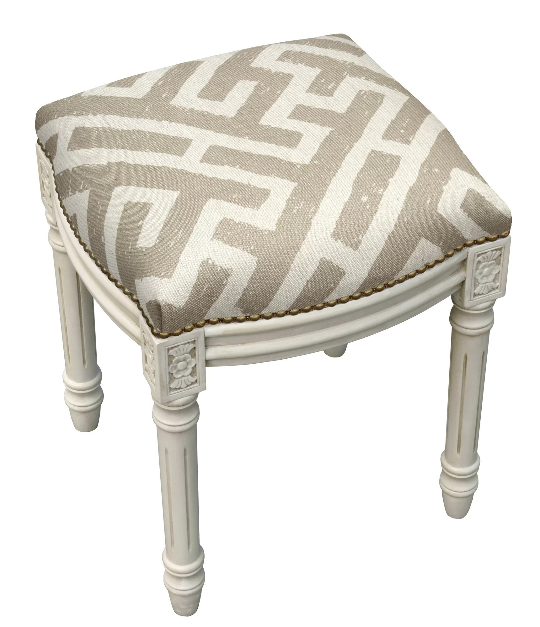 Upholstered Vanity Chair 123 Creations Graphic Lattice Linen Upholstered Vanity