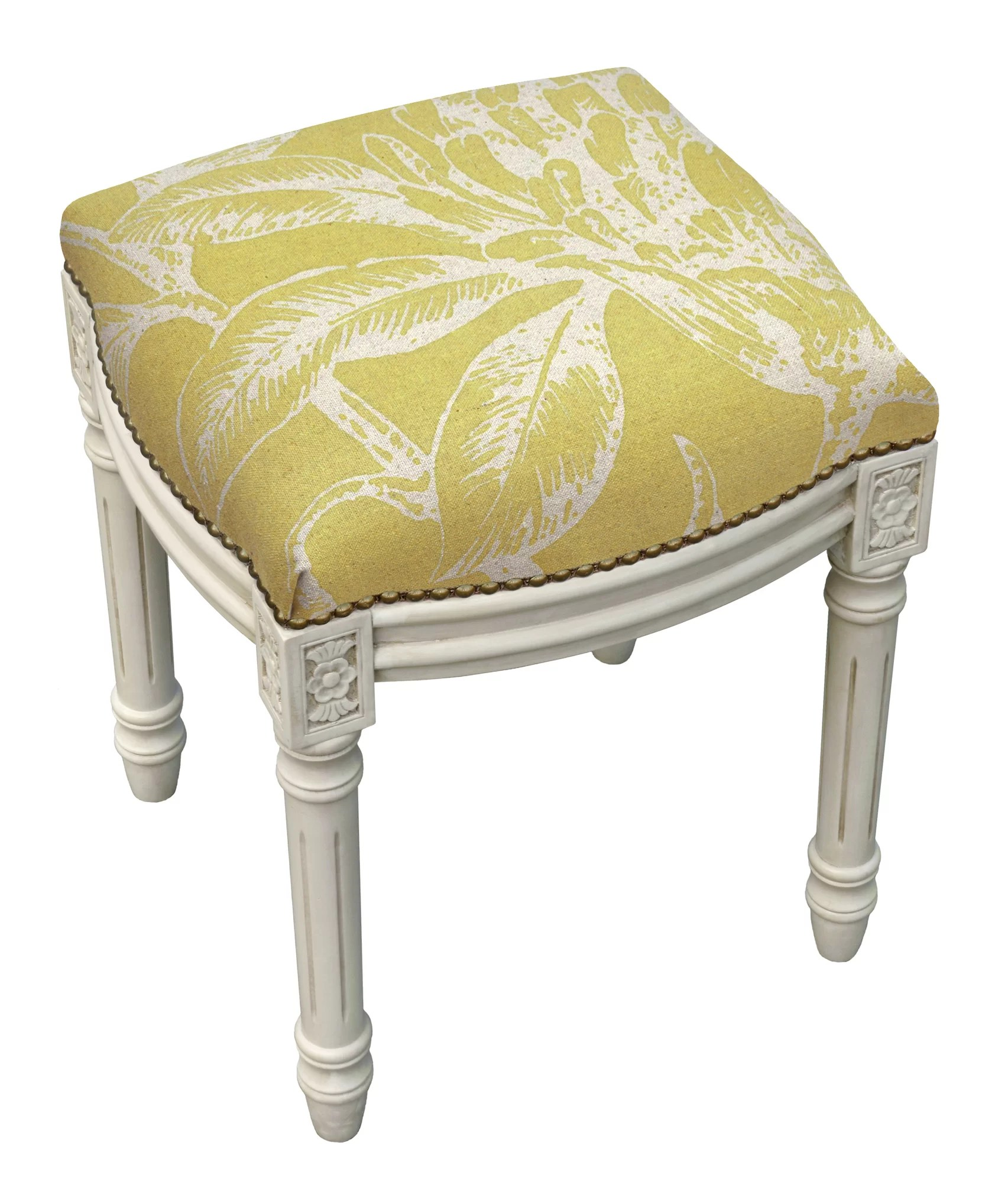 Upholstered Vanity Chair 123 Creations Floral Coral Botanical Linen Upholstered