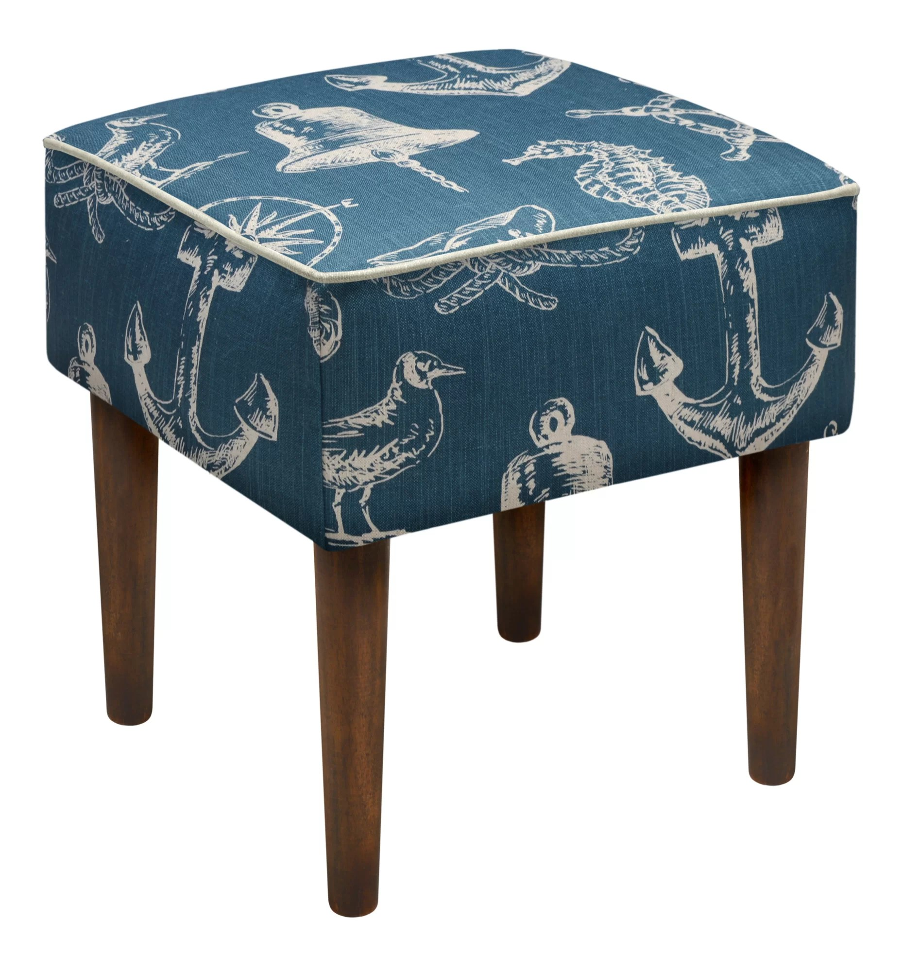 Upholstered Vanity Chair 123 Creations Nautical Upholstered Modern Vanity Stool Ebay