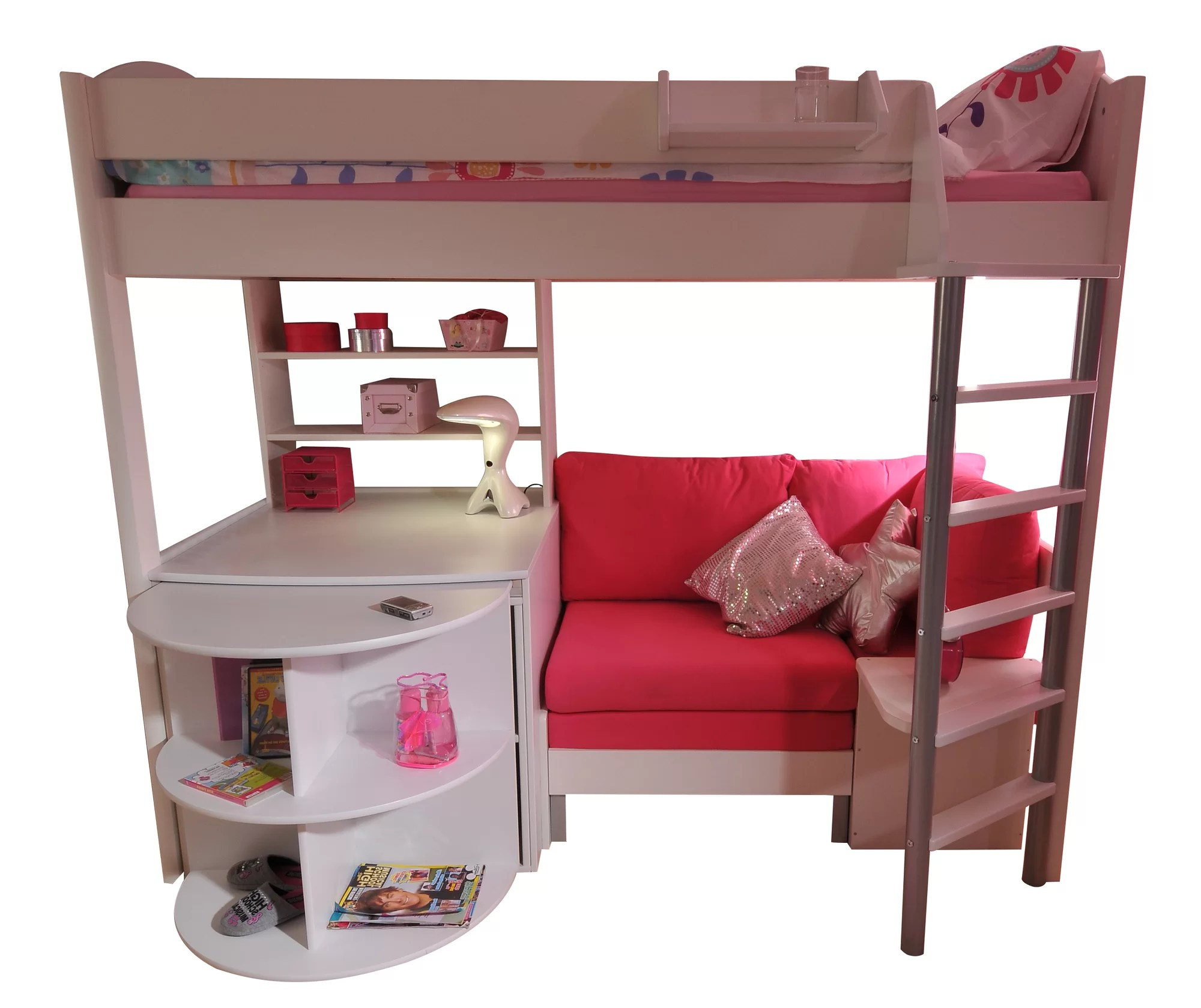 loft bed with desk and futon chair 8 square dining table stompa casa single high sleeper bunk sofa