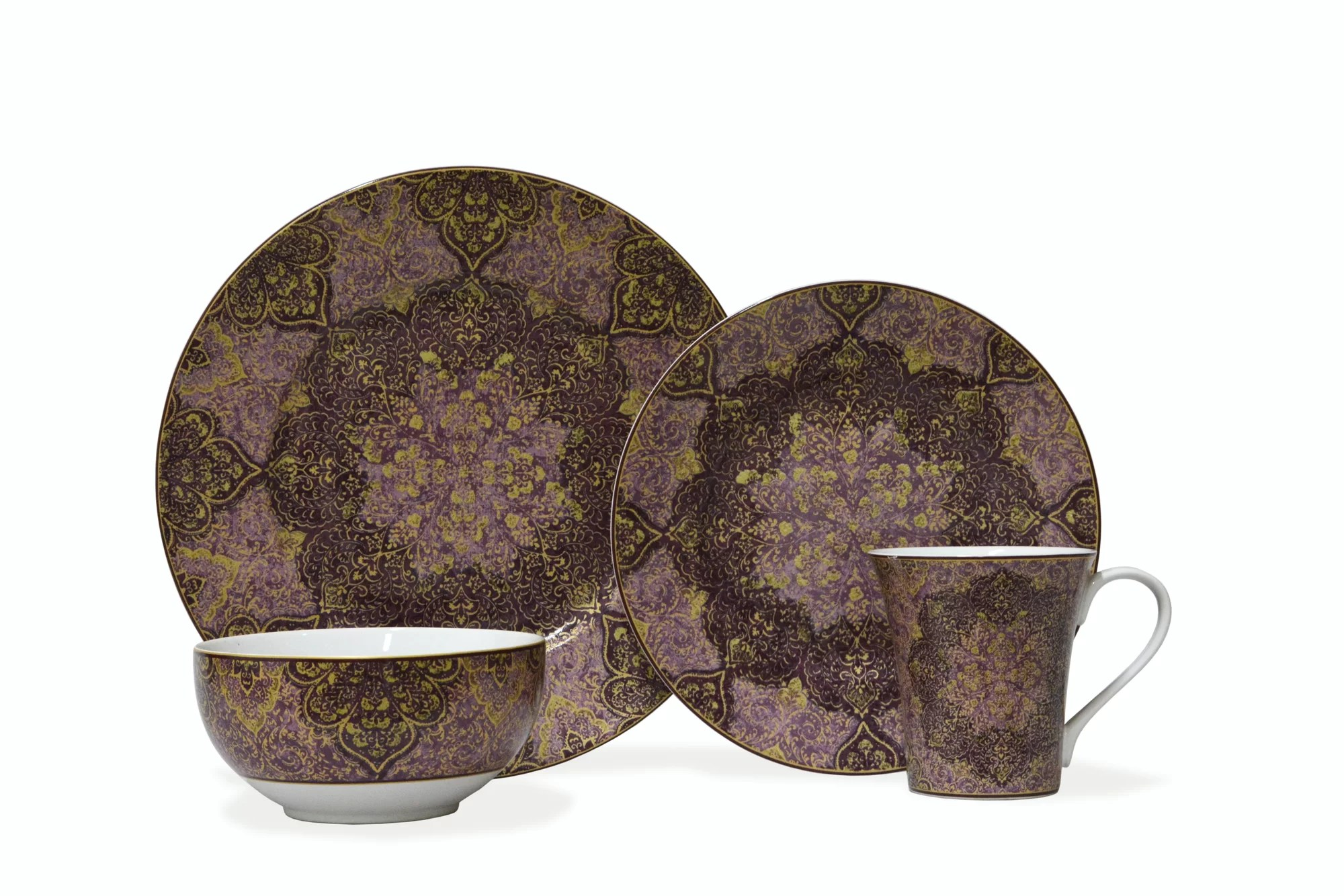 222 Fifth Eva Opulent Plum 16 Piece Dinnerware Set