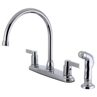 Kingston Brass Double Handle Centerset Kitchen Faucet with ...