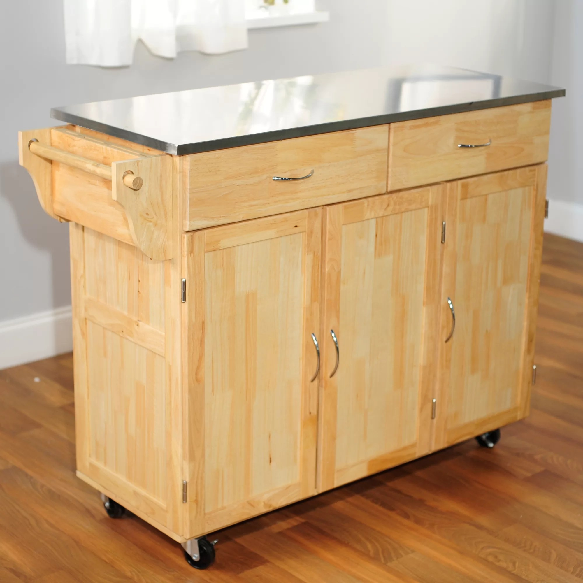 stainless steel kitchen islands under sink storage tms urban island with top ebay