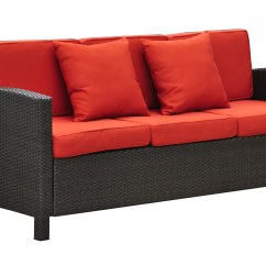 Black Aluminum Outdoor Sofa Interior Design Red Leather Barcelona Wicker Resin Patio With