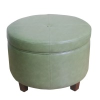 HomePop Large Round Storage Ottoman in Leather