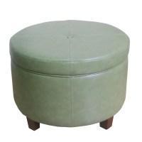 HomePop Large Round Storage Ottoman in Leather | eBay