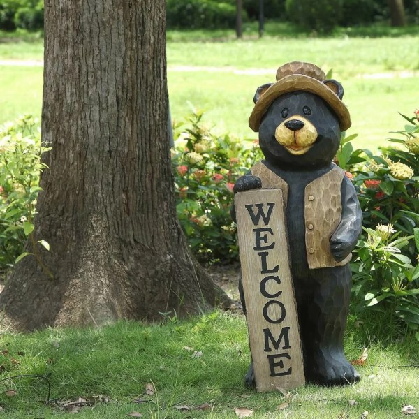 Bears Statues with Welcome Sign