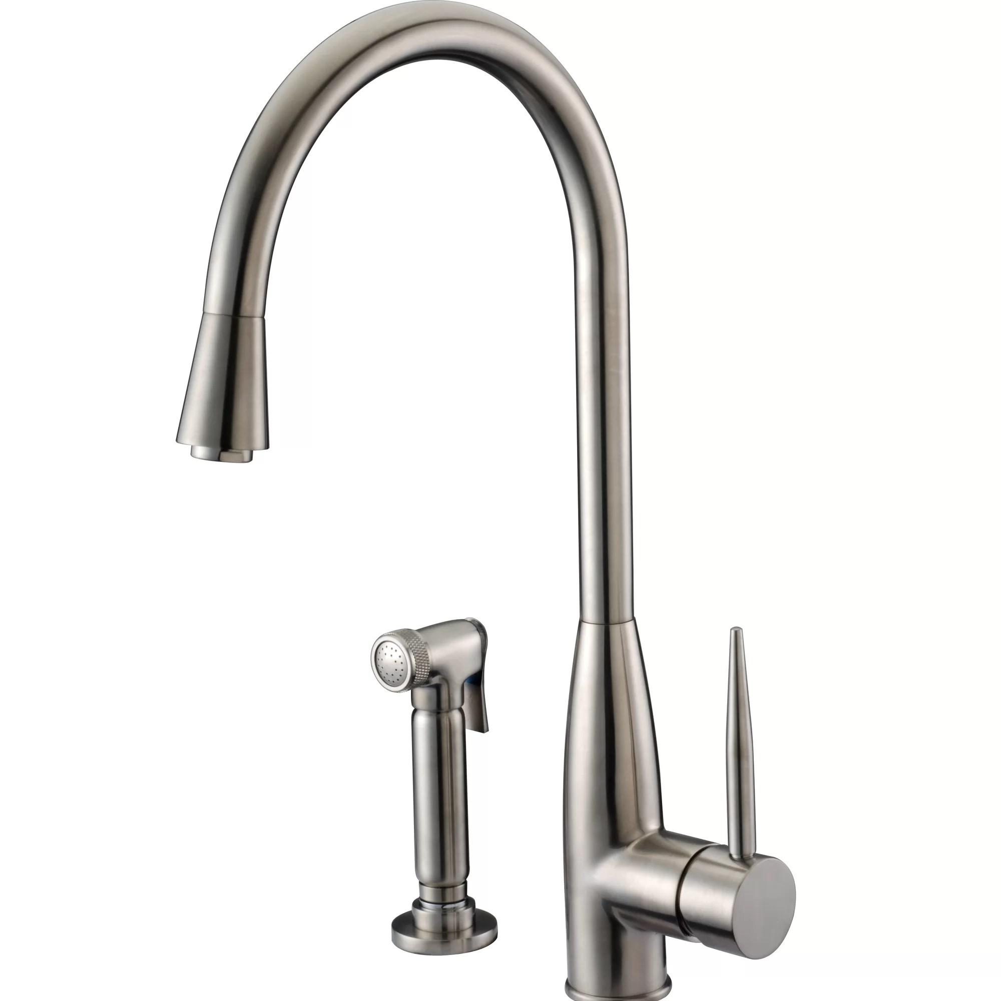 kitchen faucet with side sprayer brick tiles for backsplash in dawn usa single handle deck mount