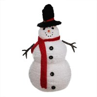 Lighted 3-D Chenille Winter Snowman with Top Hat Outdoor ...