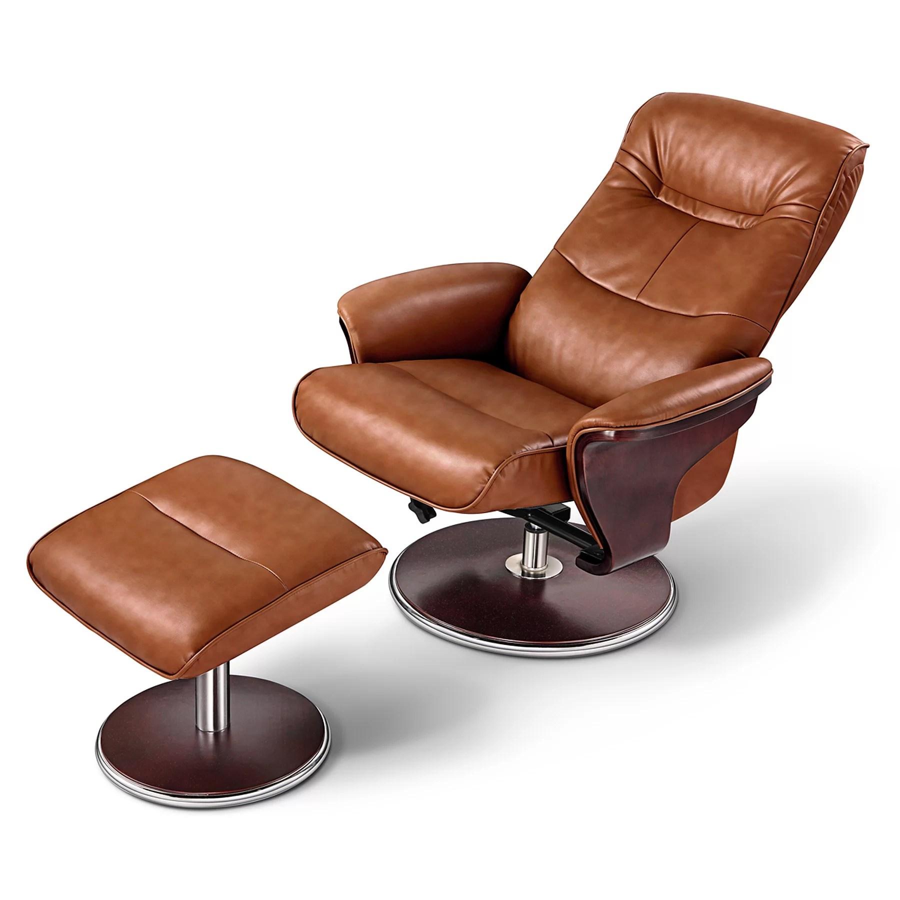 Artiva USA Milano Leather Swivel Recliner and Ottoman  eBay