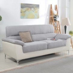 Leather And Fabric Sofa In Same Room Jamestown 2 Piece Loveseat Group Gray Madison Home Usa Modern Two Tone Bonded
