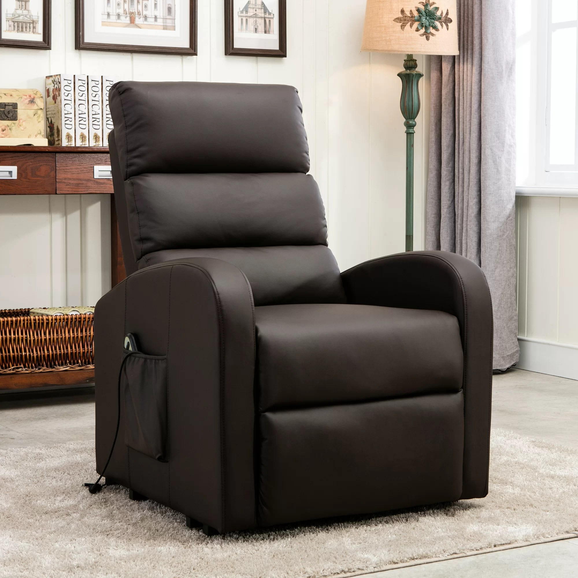 Infinite Position Lift Chair Classic Plush Bonded Leather Power Large Infinite Position