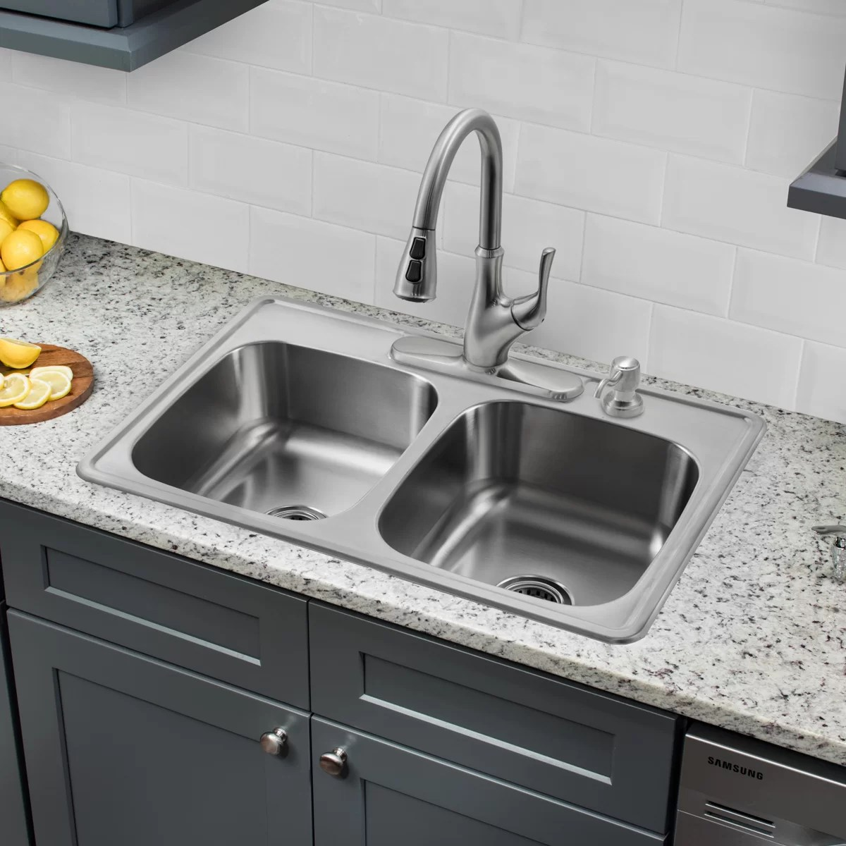 drop in kitchen sinks island with pull out table soleil 33 quot x 22 double bowl stainless steel