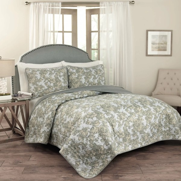 Traditions Waverly Tulip Toile 3 Piece Quilt Set