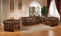 Hickory Chesterfield Genuine Leather 3 Piece Leather