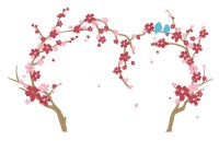 The Decal Guru Cherry Blossom Heart Tree Wall Decal