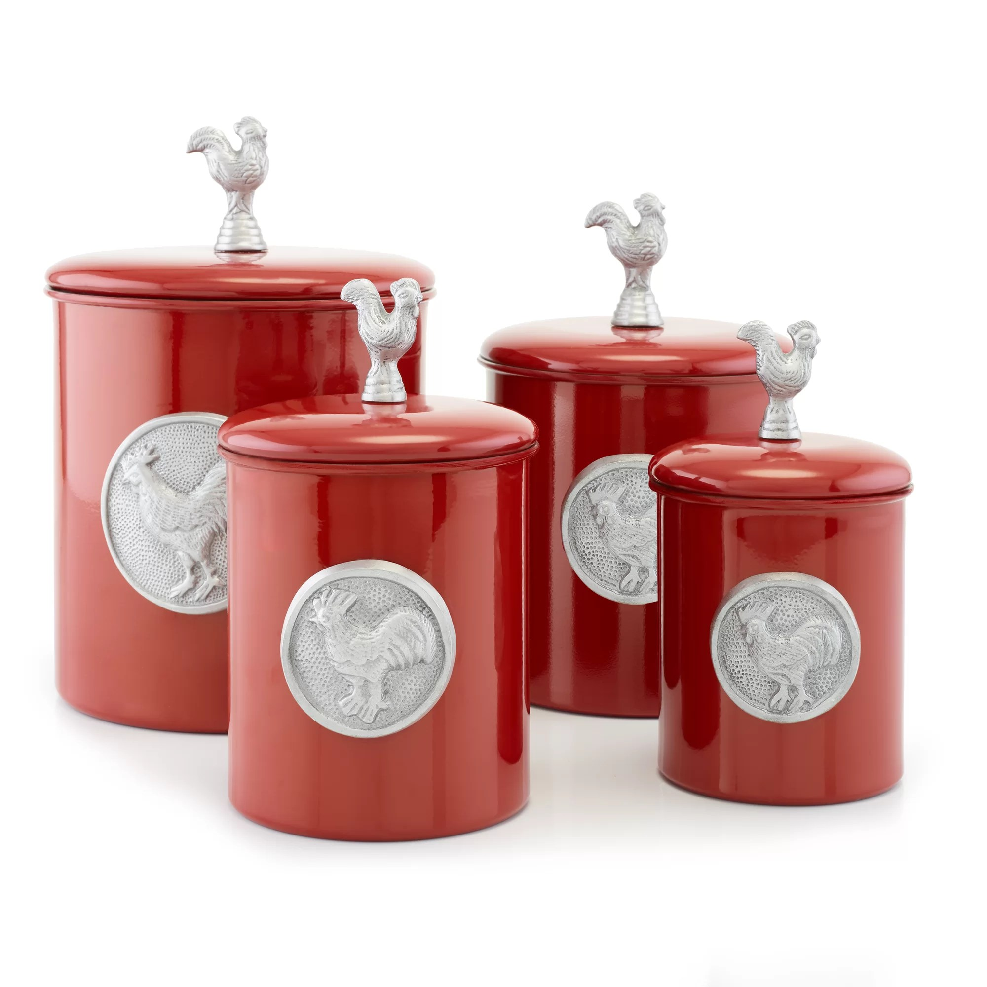red canister set for kitchen cabinets knobs old dutch international rooster 4 piece