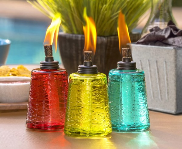 Tiki Brand Glass Tabletop Torch Set Of 3