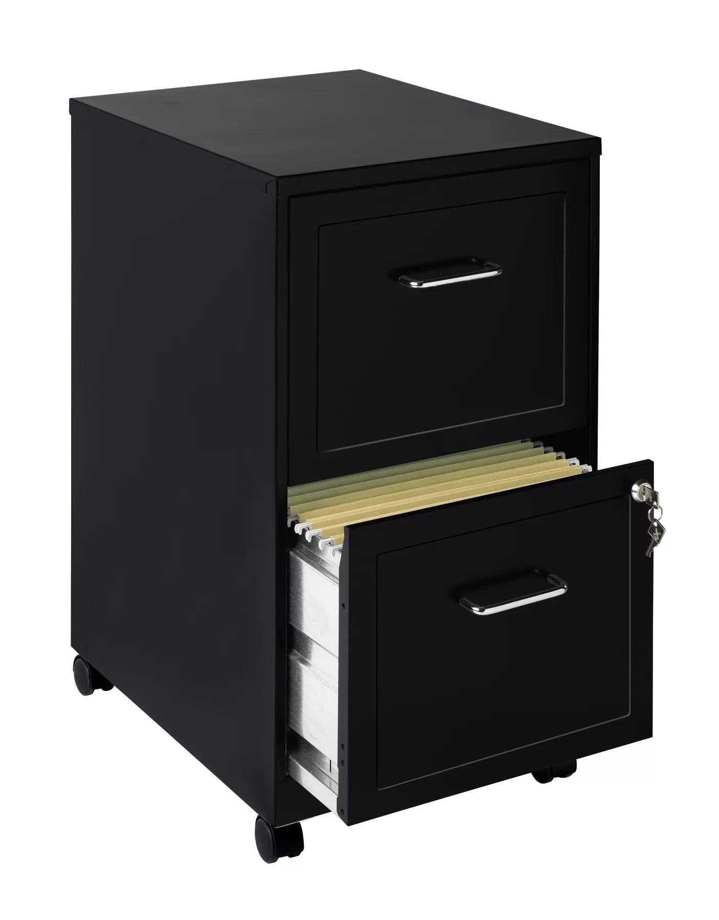 CommClad 2 Drawer Mobile Filing Cabinet Black