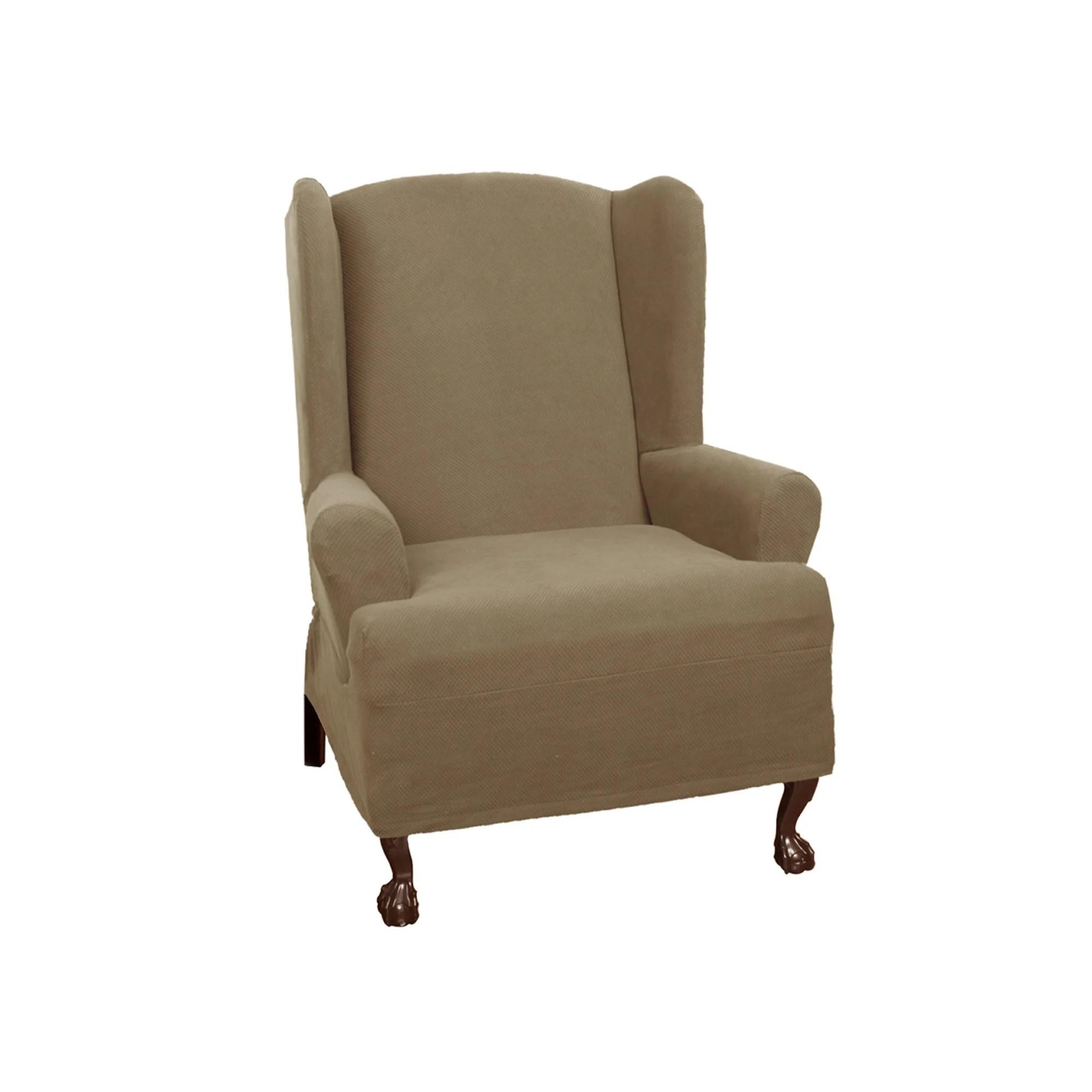 wingback chair covers on ebay baseball bean bag maytex pixel stretch wing t cushion slipcover