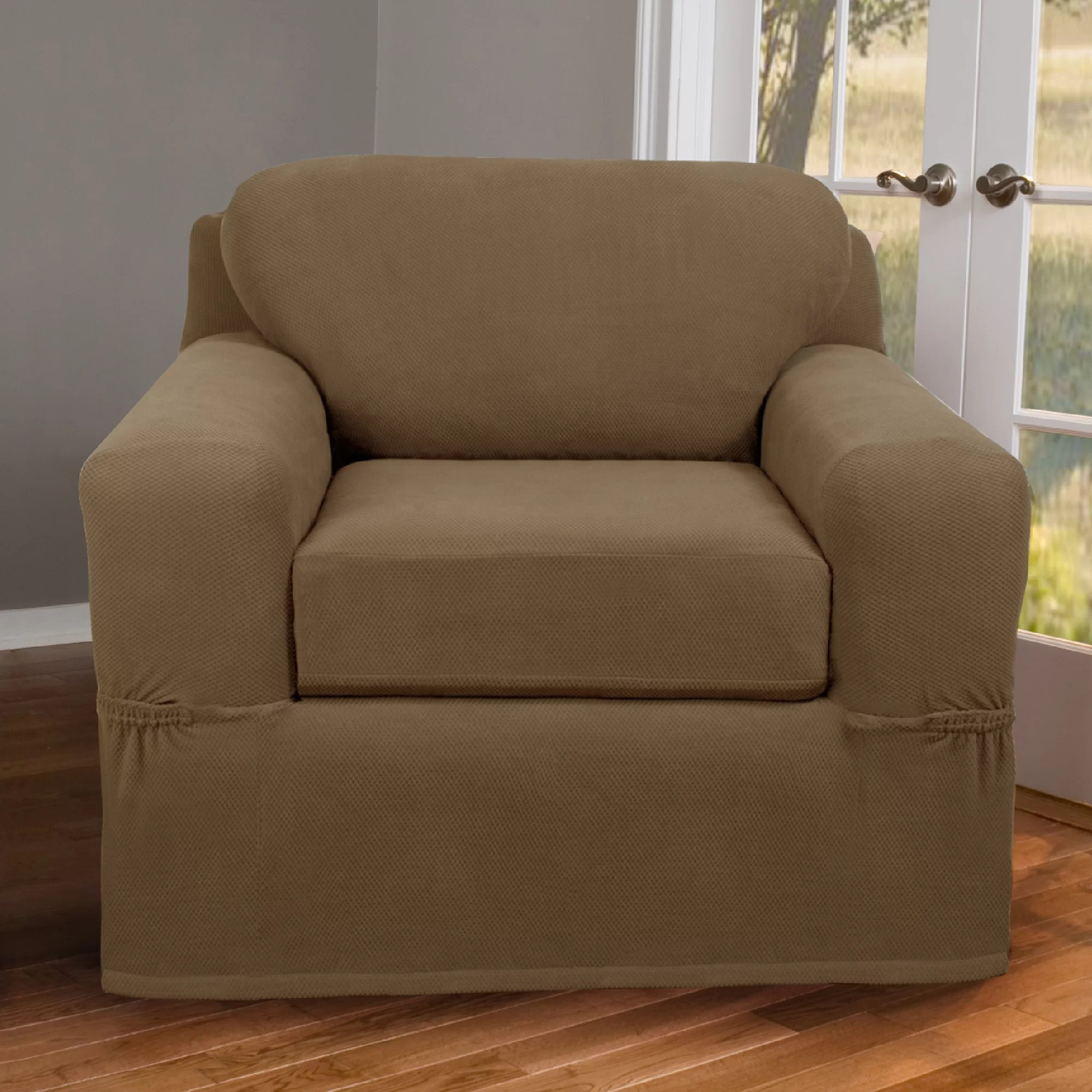 boxed chair cushions sitting down exercises maytex pixel stretch 2 piece box cushion slipcover