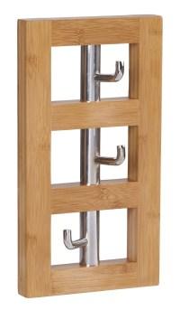 Household Essentials Bamboo Vertical 3-Hook Wall Coat Rack ...