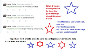 Celebrate Memorial Day by helping me get the Anti CCSS words off the ground and off to D.C.!!