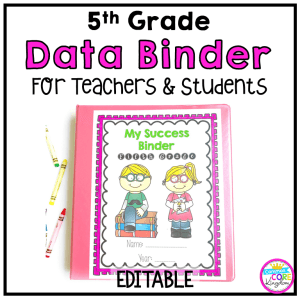Image of fifth Grade Data Binder showing two students on the cover with a clickable link to teachers pay teachers