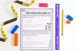 Image of a second grade measurement worksheet showing activities with measuring tools around the worksheet.