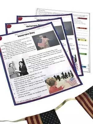 Image of Veterans day differentiated reading passages with an answer sheet behind them and american flags in the foreground.