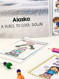 """Cool down corner exercised laid out on table. Text reads """"Alaska, A Place to Cool Down"""""""