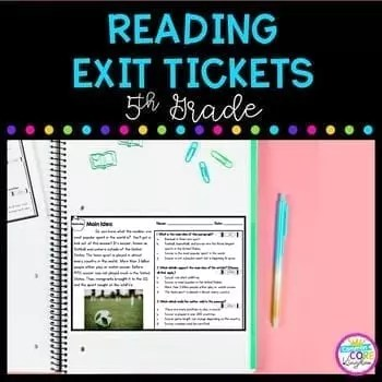 5th grade reading exit tickets with distance learning google forms version cover showing an exit ticket on a notebook and a pencil with a peach background
