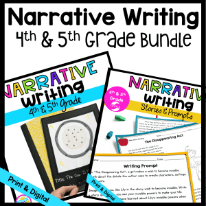 Narrative Writing Bundle cover for 4th & 5th Grade, both printable and digital versions, showing two passages and a student-made book cover