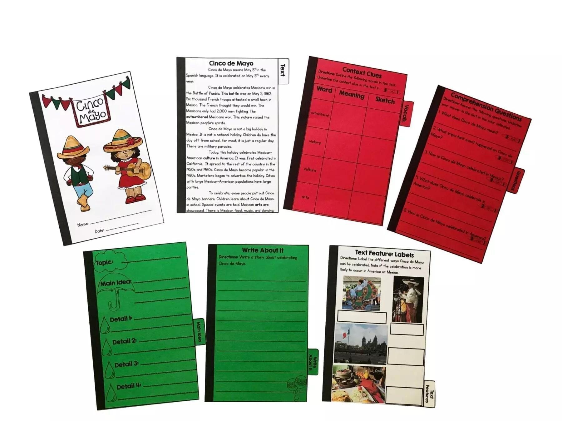 Cinco de Mayo Reading Comprehension Flip Book Activities- 2nd \u0026 3rd grade    Common Core Kingdom [ 1348 x 1800 Pixel ]