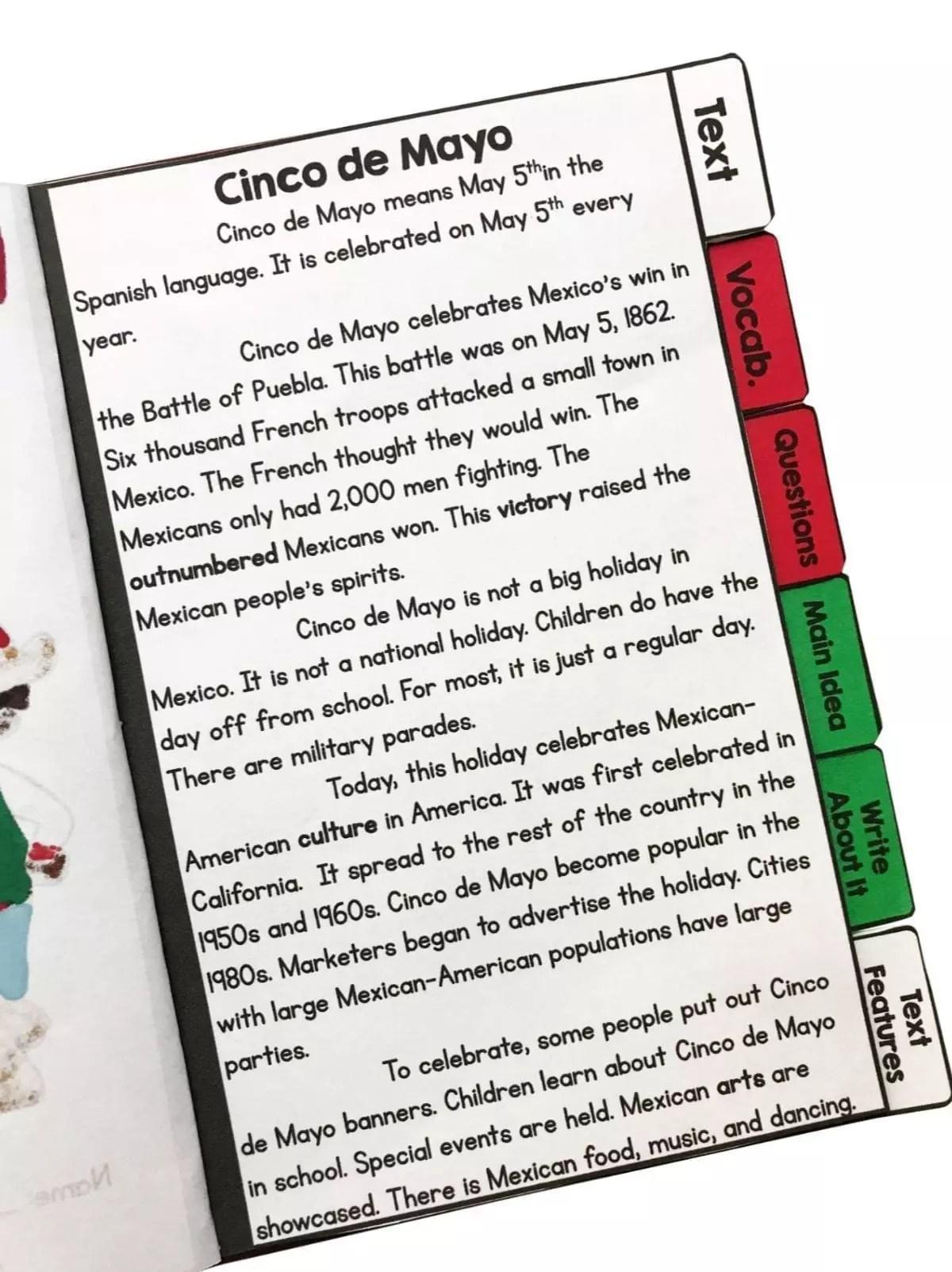 Cinco de Mayo Reading Comprehension Flip Book Activities- 2nd \u0026 3rd grade    Common Core Kingdom [ 1603 x 1200 Pixel ]