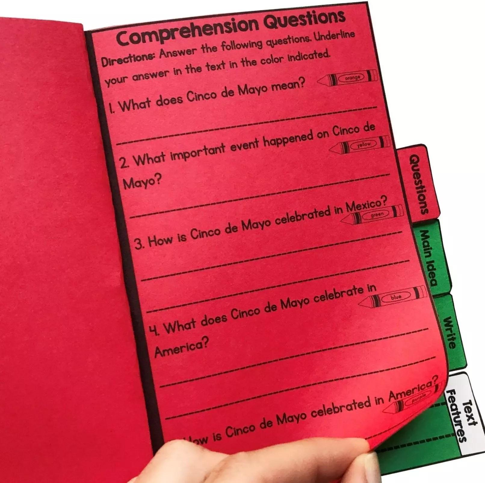 Cinco de Mayo Reading Comprehension Flip Book Activities- 2nd \u0026 3rd grade    Common Core Kingdom [ 1605 x 1612 Pixel ]