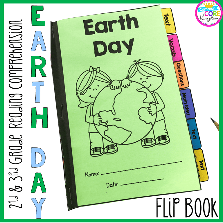 Earth Day Reading Comprehension Flip Book Activities- 2nd & 3rd Grade  Common Core Kingdom