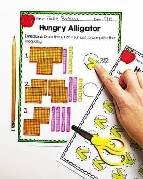 Hungry Alligator worksheet page and alligator mouth cut out page with scissors and a pencil
