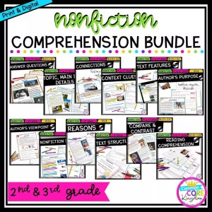 2nd & 3rd grade nonfiction comprehension bundle cover showing various product covers with printable and digital worksheets