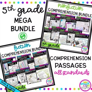 5th Grade Mega Comprehension Bundle cover showing multiple product covers with printable and digital worksheets