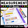 Measurement for 2nd Grade lesson cover showing a printable worksheet and a purple ruler