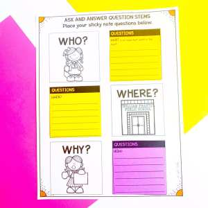 Sticky Note Anchor Chart showing Who, What, Where, When, Why, How questions