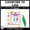 Counting to 1000 resource cover showing a 2nd grade math worksheet with yellow and red counting blocks.