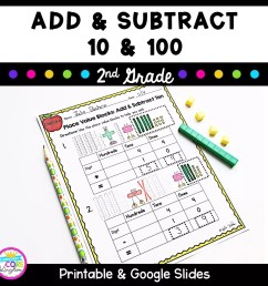 Add and Subtract 10 and 100 - 2nd Grade 2.NBT.B.8 Google Slides Distance  Learning   2nd grade   Common Core Math [ 1800 x 1800 Pixel ]
