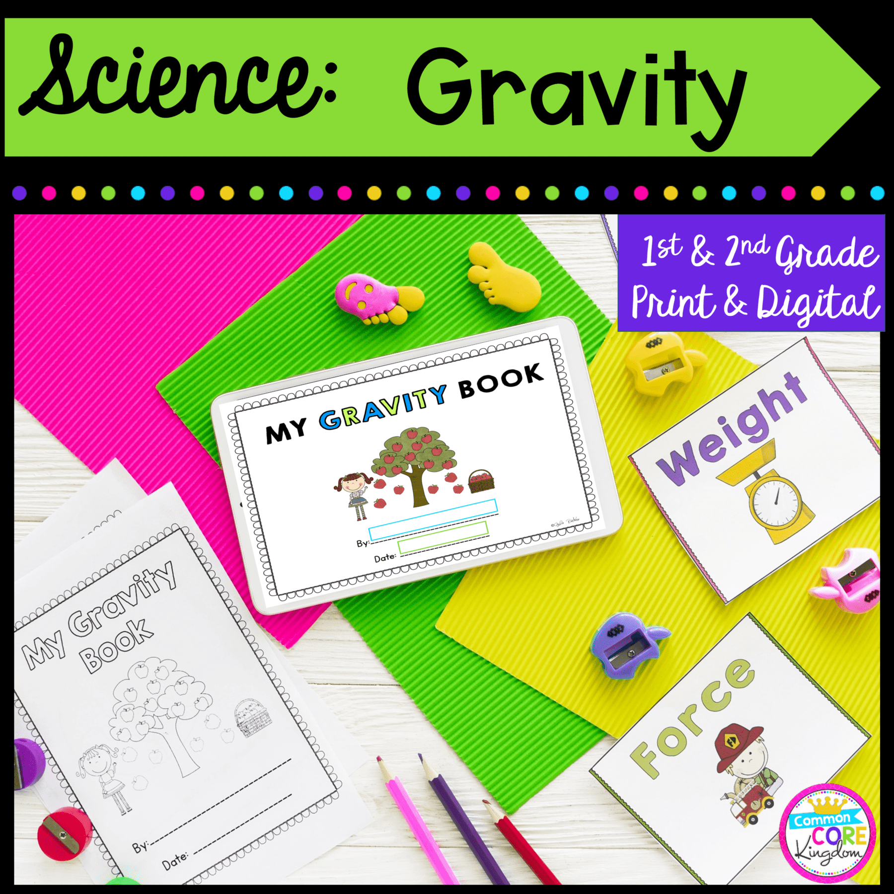 Gravity Mini Unit- 1st \u0026 2nd Grade - Printable \u0026 Digital   Common Core  Kingdom [ 1800 x 1800 Pixel ]